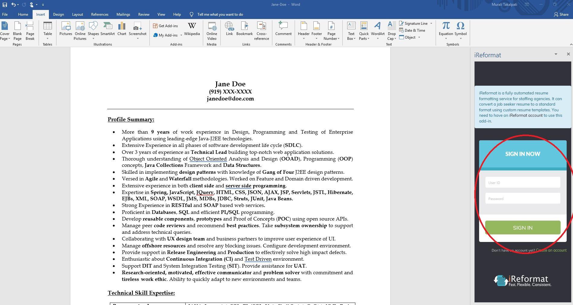 iReformat Office app Login Screen
