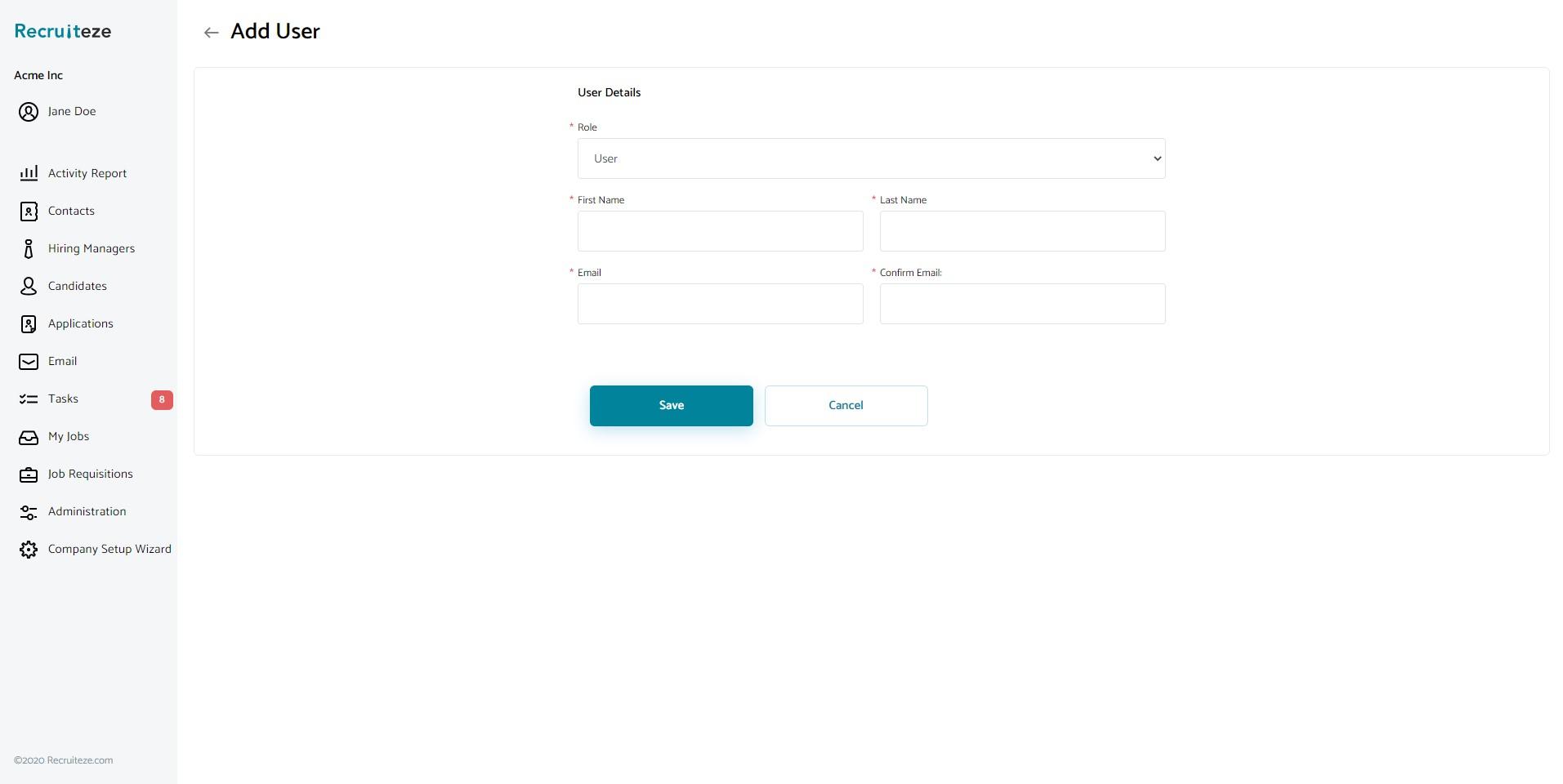 Recruiteze: Add user view