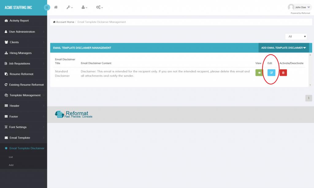 Recruiteze: Email Disclaimer List