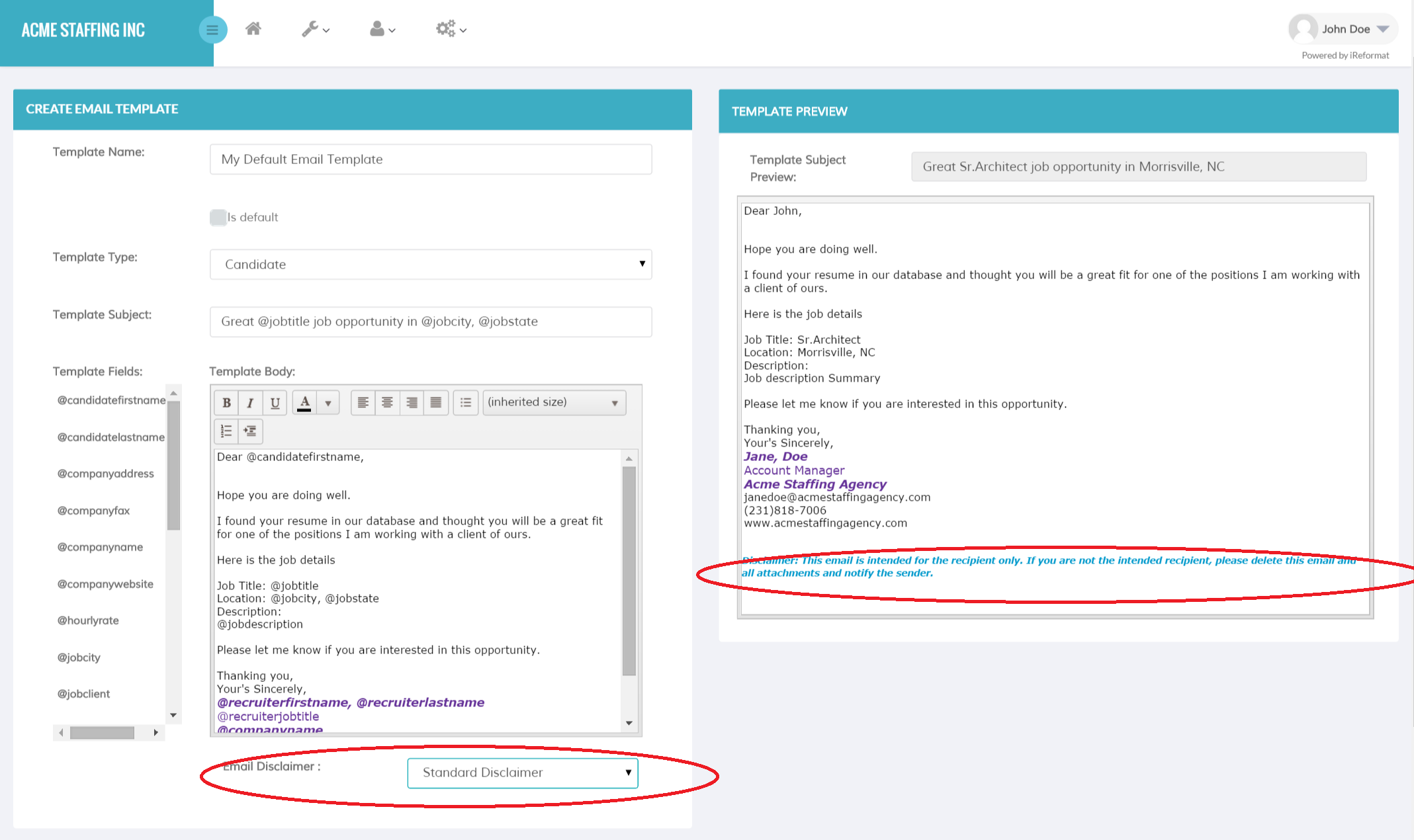 making an email template - recruiteze how to create update an email template