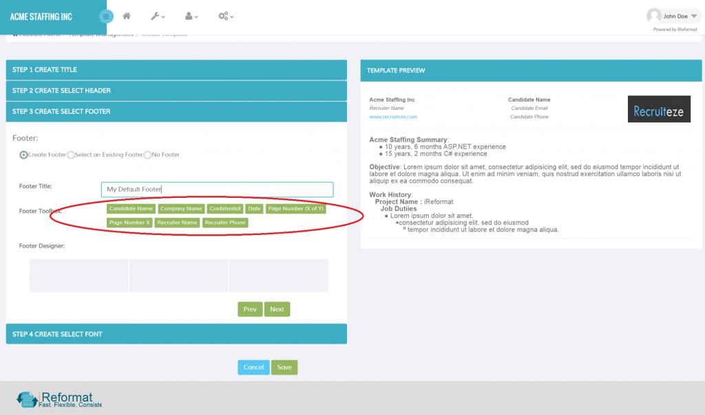 iReformat: Create Resume Template - Footer Designer