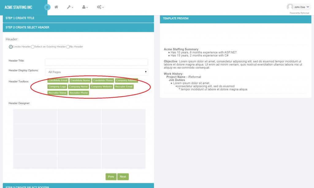 iReformat: Create Resume Template - Header Designer