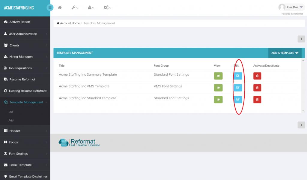 iReformat Resume Template Management