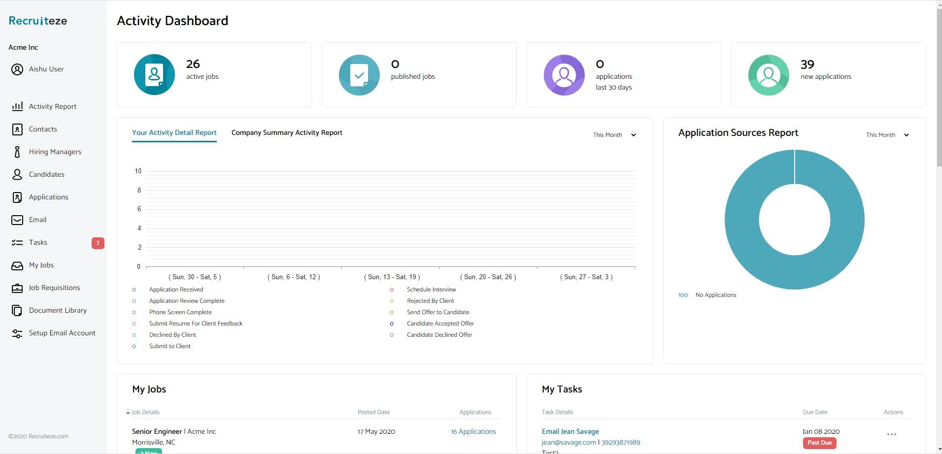 Recruiteze: User Dashboard