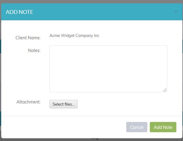 Recruiteze - Online Applicant Tracking System Client Note Dialog