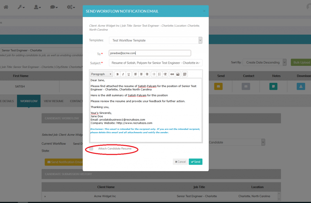 Recruiteze candidate management system - workflow notification email