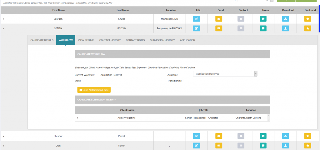 Recruiteze candidate management system - candidate workflow feature