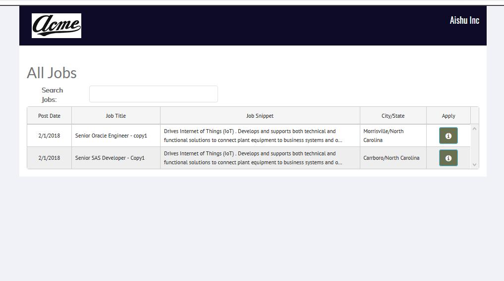 Recruiteze Online Job Application Management System - All Jobs in iFrame