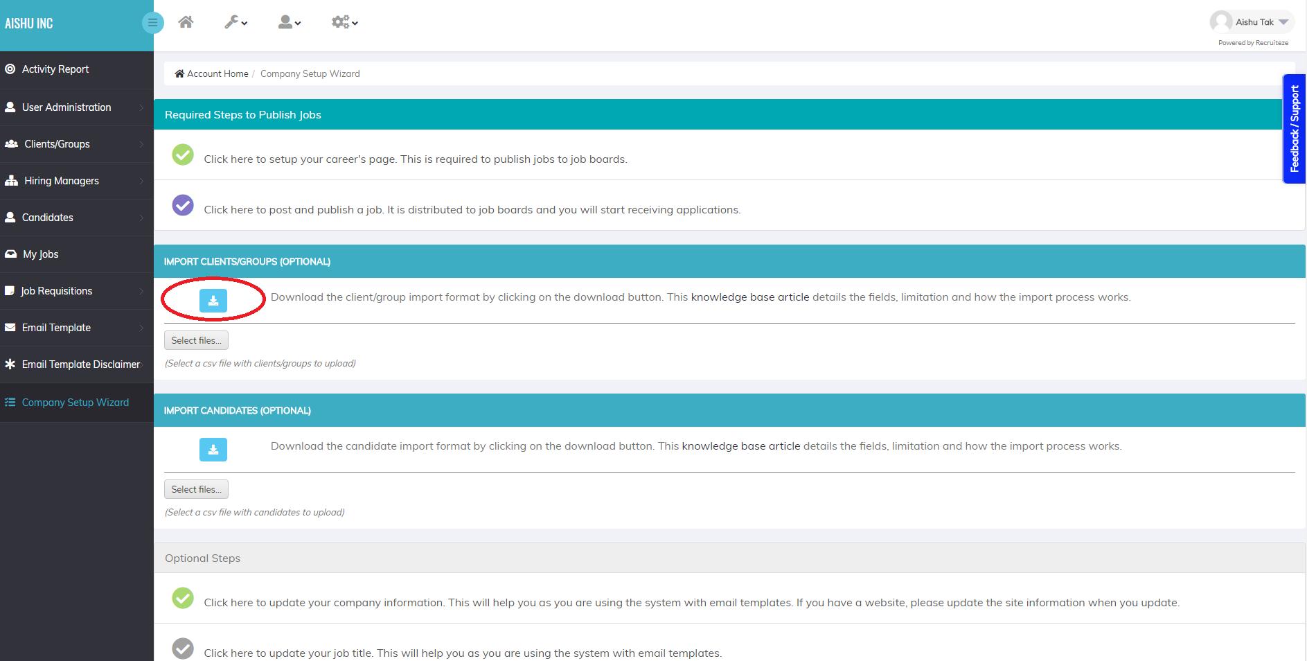 Recruiteze Applicant Tracking System Client Import Format