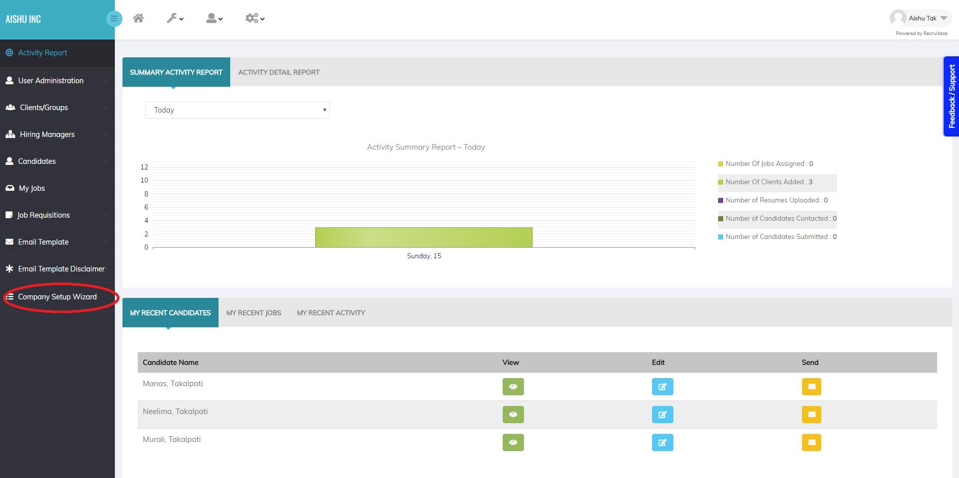 Recruiteze Applicant Tracking System Setup WIzard