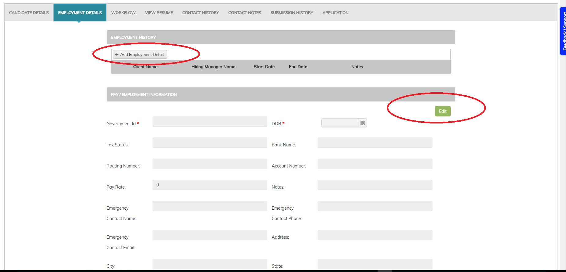 Recruiteze Applicant Tracking System: Employment Details Tab