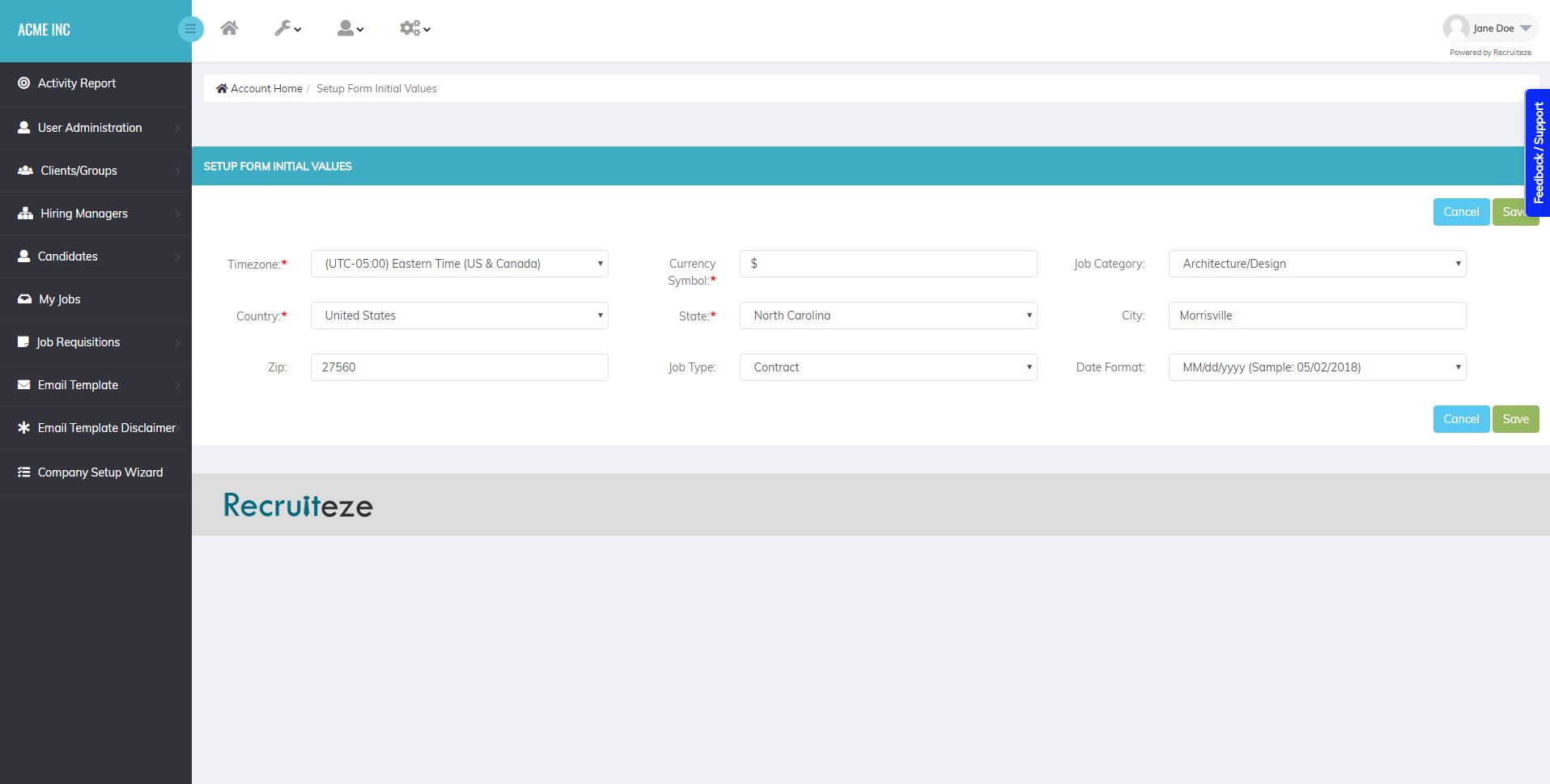 Recruiteze Applicant Tracking System - Setup Form Initial Values