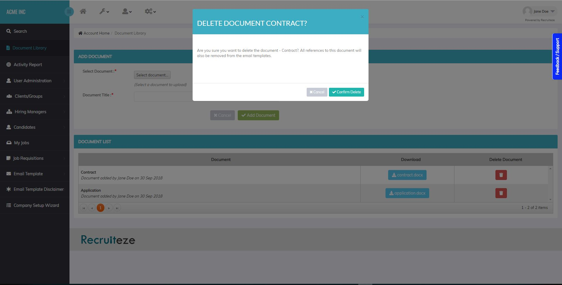 Applicant Tracking System - Delete Document Confirmation