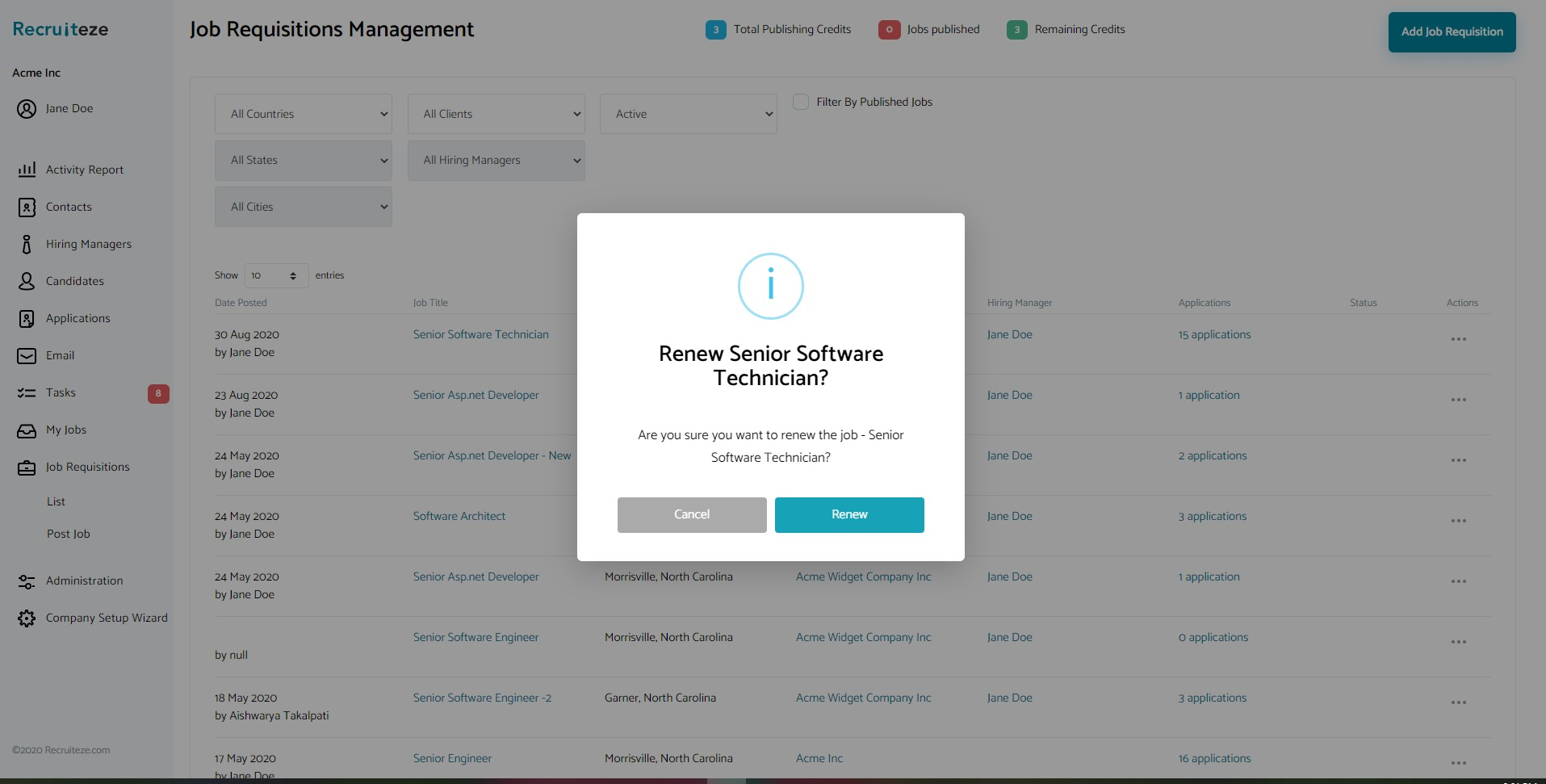 Applicant Tracking System - Renew Job Confirmation