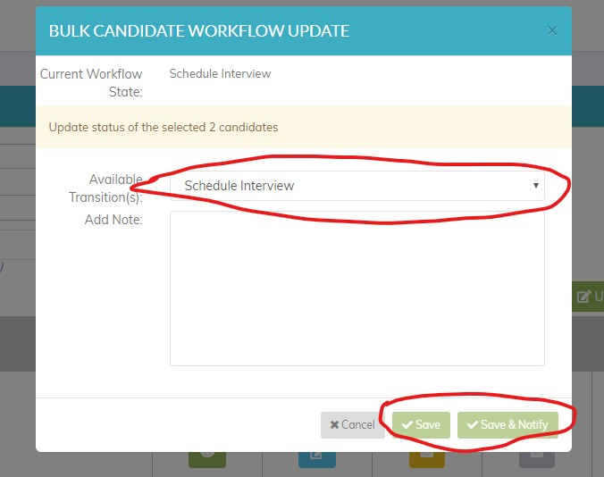 online applicant tracking system -  bulk update view