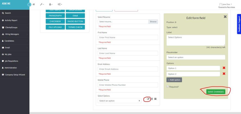 Recruiteze: Editing a form control