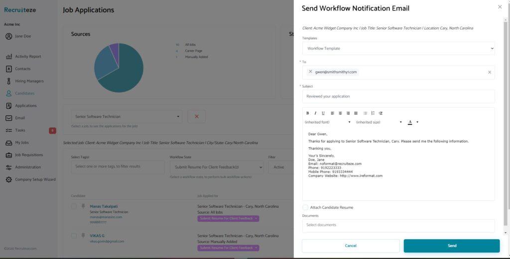 Recruiteze -  bulk update and notify view
